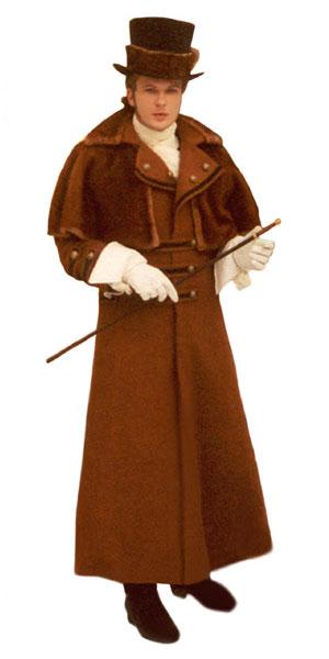 Длинное мужское историческое пальто